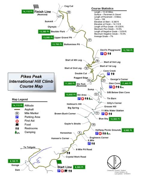 2011 Pikes Peak International Hill Climb Course Map