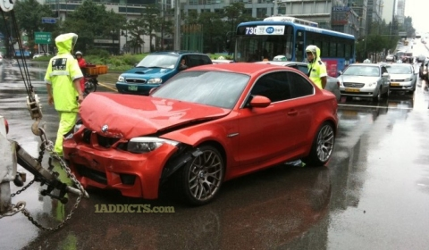 Car Crash First BMW 1-Series M Coupe Wrecked in Korea