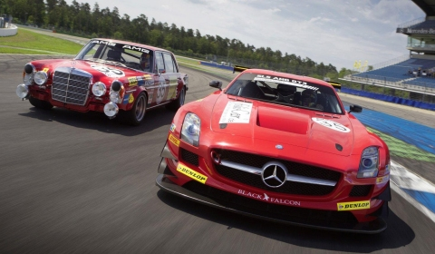 Mercedes SLS AMG GT3 in 300SEL 6.8 AMG Livery at 24 Hours of Spa