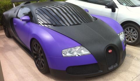 Spotted Matte Black Purple Bugatti Veyron in St. Tropez