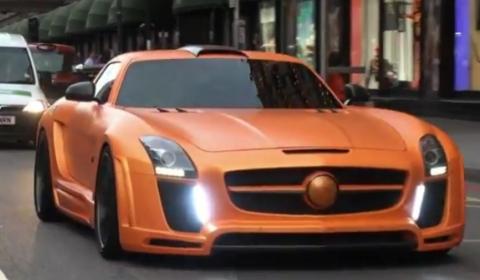 Video Orange FAB Design SLS AMG Spotted in London