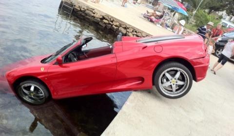 Car Crash Ferrari 360 Spider Tries Swimming in Croatia