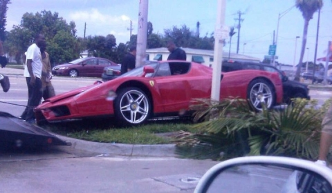 Car Crash Red Ferrari Enzo Hits Pavement