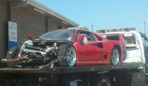 Car Crash Ferrari F40 Wrecked in Houston