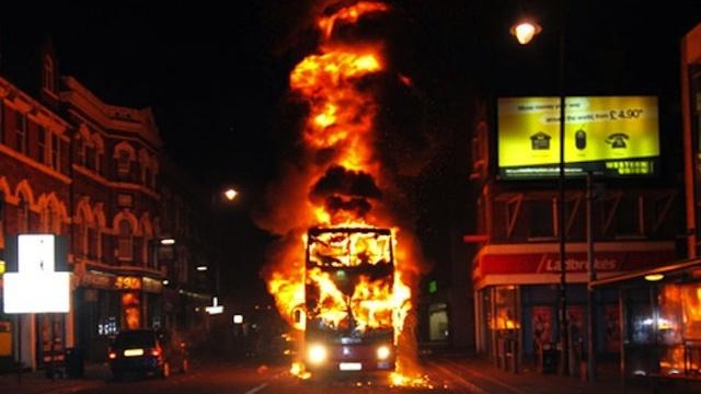 London Double Decker Bus On Fire