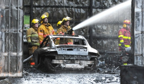 Porsche Fire Destroys White Township Garage