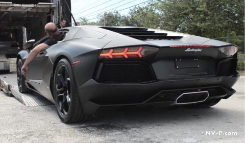 Video Matte Black Lamborghini LP700-4 Aventador Walk Around
