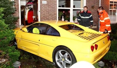 Car Crash Ferrari F355 GTS Crashes Into House
