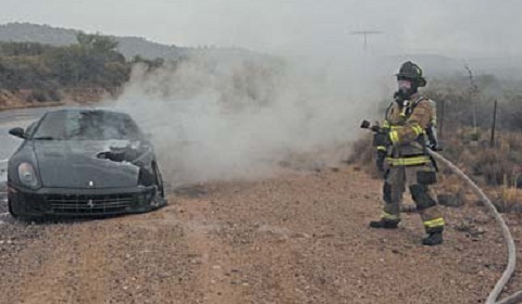 Ferrari 599 On Fire In Arizona