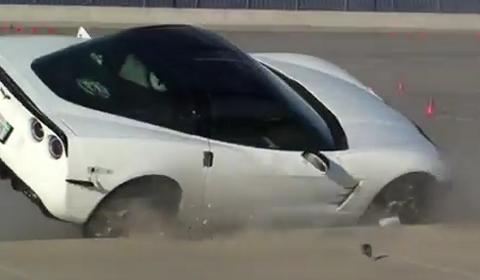 Car Crash Corvette Crashes at Speed Ventures Autocross Event
