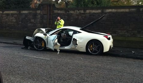 Car Crash Ferrari 458 Italia Wrecked in Edinburgh