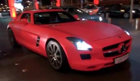 Overkill Matte Pink Mercedes-Benz SLS AMG Driveby in Dubai