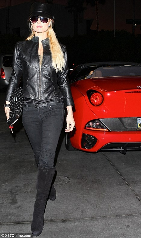Paris Hilton Parades in Her Brand New Ferrari California 01