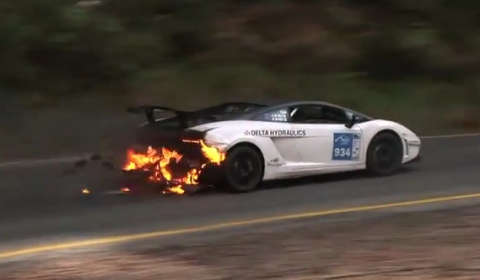 Video Lamborghini Gallardo on Fire at Targa High Country 2011