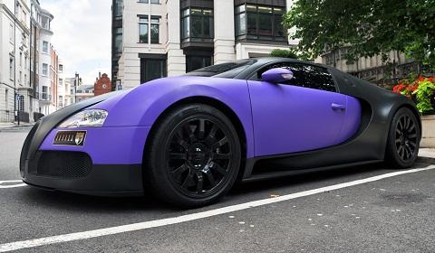 Black and Purple Bugatti Veyron in London