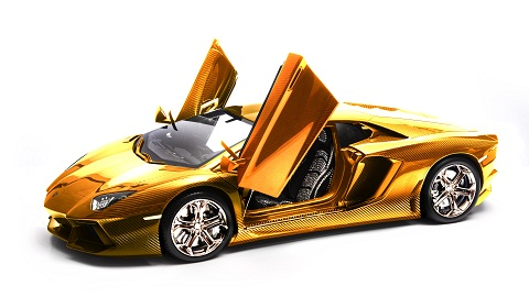 Gold Lamborghini Aventador Model