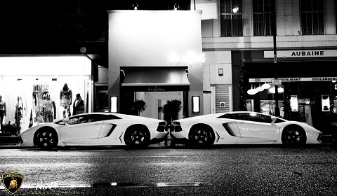 Two Lamborghini Aventadors at Lamborghini UK Christmas Party