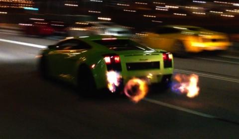 Video 1250WHP Twin Turbo Gallardo Shooting Flames