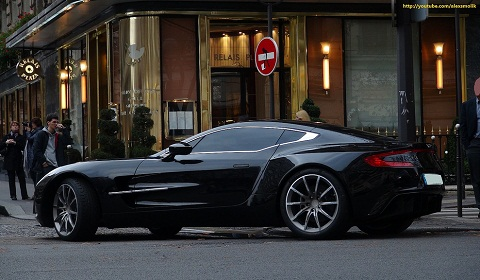 Aston Martin on Black Aston Martin One 77 In Paris