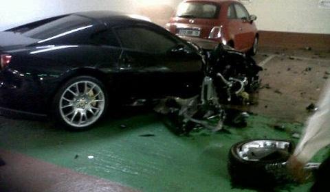 Ferrari 599 GTB Wrecked in Paris Car Park