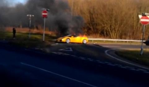 Lamborghini Gallardo Spyder on Fire in Derbyshire