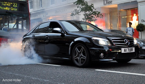 Mercedes C63 AMG Burnout in London