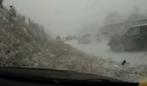 Car Crash Close Call in Ice and Snow Accident