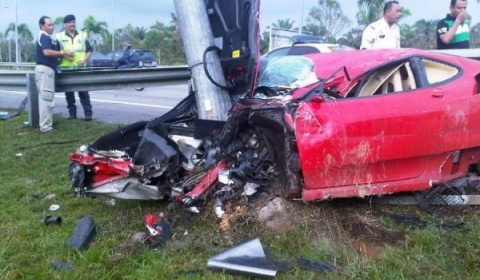 Car Crash Ferrari F430 Wrecked in Klia Malaysia