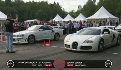 Video Bugatti Veyron vs Nissan Skyline GT-R R34