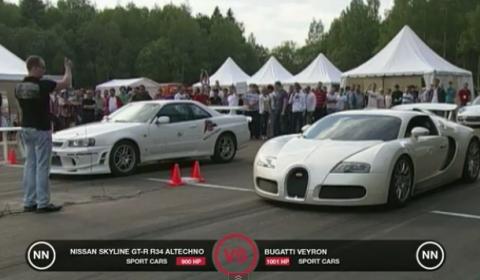 Video Bugatti Veyron vs Nissan Skyline GT-R R34
