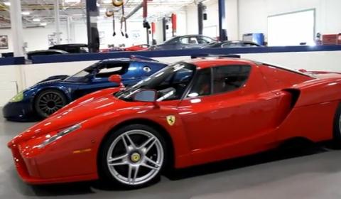 Video Maserati MC12 Corsa, Ferrari Enzo and F50 in Chicago Garage