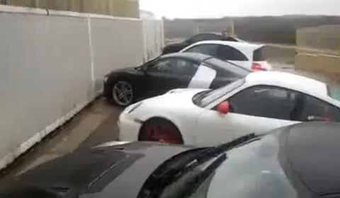 Audi R8 Crashes Into Metal Fence