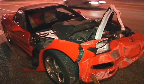 Corvette Involved in Hit and Run With Truck