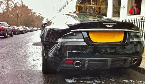 Dented Aston Martin DBS in London