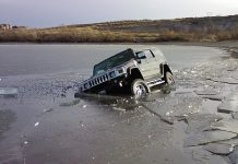 Hummer H2 Falls Through Moses Lake In Washington