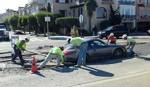 Porsche 911 Accident Cement San Francisco