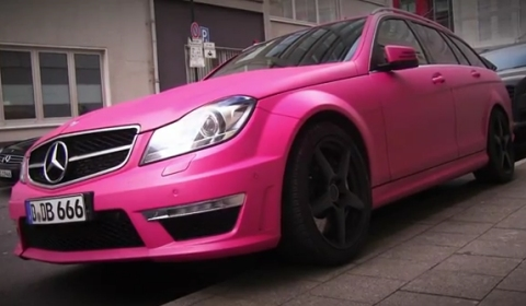 Video Matte Pink Mercedes-Benz C 63 AMG Estate