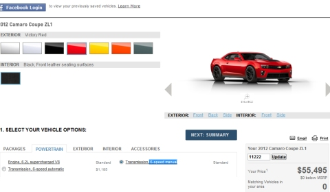 Chevrolet Camaro ZL1 Online Configurator