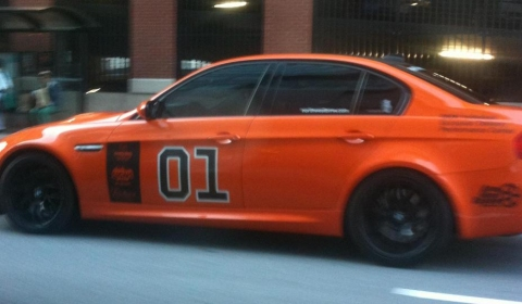 Spotted BMW M3 Sedan in Dukes of Hazzard General Lee Colours