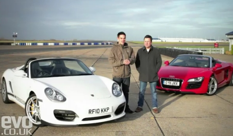 Video Audi R8 V8 Spyder vs Porsche Boxster Spyder