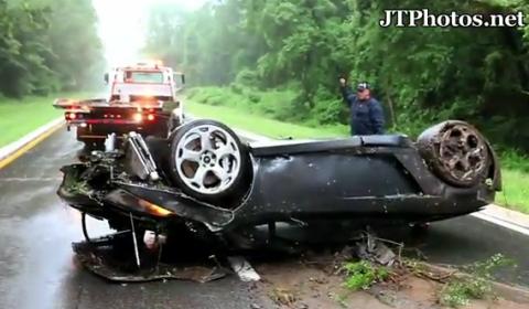 Video Lamborghini Gallardo Spyder Flips Over in Storm