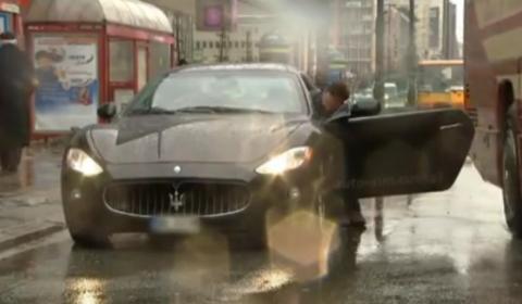 Car Crash Bus Hits Opened Door Maserati GranTurismo in Poland