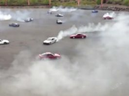 Video Guinness World Record Simultaneous Donuts 75 Cars