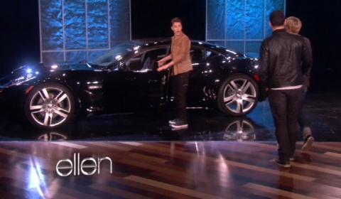 Video Justin Bieber Gets a Fisker Karma on Ellen DeGeneres Show
