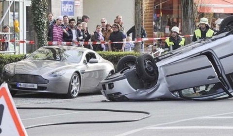 Aston Martin V8 Vantage Wrecked in Munich