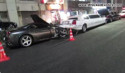 Car Crash Ferrari California Crashes into Two Limousines in Tokyo
