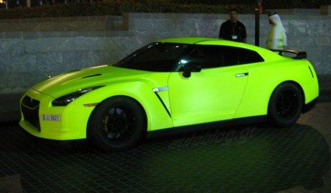 Matte Green Fluorescent Nissan GT-R in Dubai