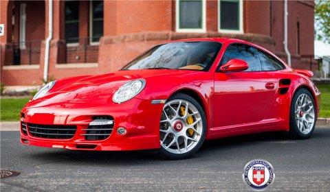 Red Porsche 997 Turbo S on HRE P40SC Centerlock