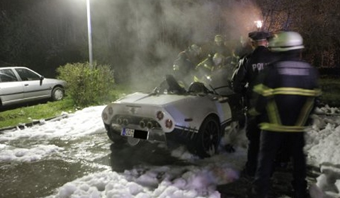 Spyker C8 Spyder Burns Down in Germany 01