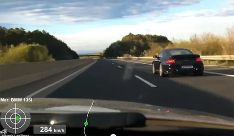 BMW Chasing a Porsche on the Autobahn